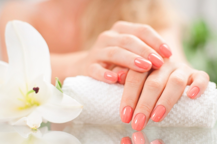 Manicure Concept. Beautiful Woman's Hands With Perfect Manicure